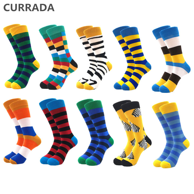 10pairs/lot Mens Happy Socks Quality Combed Cotton Crew colorful Funny cartoon Socks fashion long male compression Casual sock-in Men's Socks from Underwear & Sleepwears