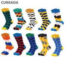 Meias de algodão masculinas, 10, pares/lote de qualidade, divertidas, coloridas, de desenhos animados, longas, de compressão, casual