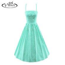 yilia Light Green Blue Black Stripe Women Cami Dress Casual Spaghetti Strap Sleeveless High Waist Skater Vintage Dresses