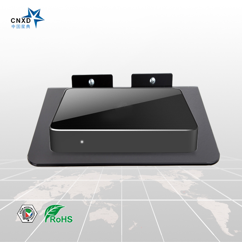 CNXD 2017 New Design DVD TV Box Wall Mount Set Top Box Stand Mount Digital Bracket DVD Mount Router Shelf With Black Glass