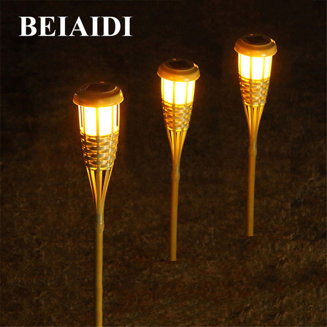 Beiaidi 10pcs Solar Panel Tiki Torch Garden Light Outdoor Spike Spotlight Bamboo Finish Landscape Lawn