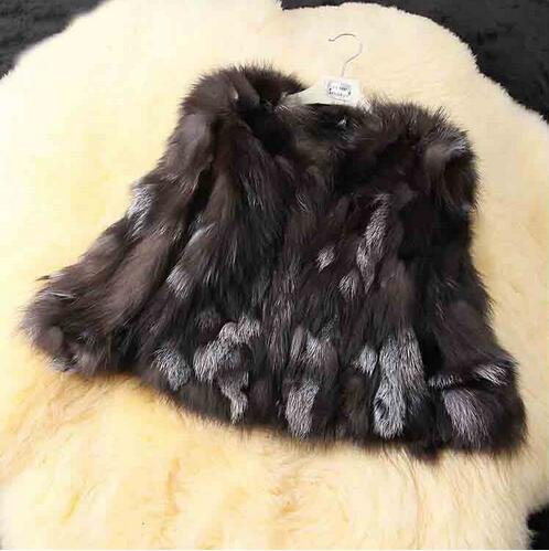 Natural Genuine Real Silver Fox Fur Coat For Women Warm Winter TFP316