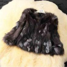 Natural Genuine Real Silver Fox Fur Coat for Women Warm Wint