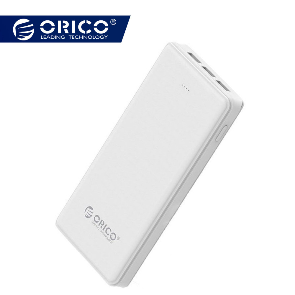 ORICO 20000mAh 3 USB Power Bank 5V/2A*2+5V1A*1 External Battery Mobile Backup Bank Charger with Flashlight Universal White