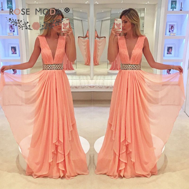 Rose Moda V Neck Pink   Evening     Dress   Floor Length 2019