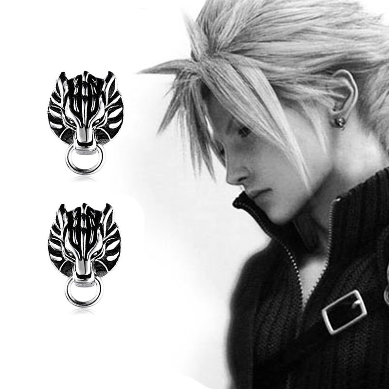 Hot Game Final Fantasy VII Ear Nail Cloud Wolf 1 Pair of Clip-ons Earrings Cosplay Pendant Costume Props Gifts