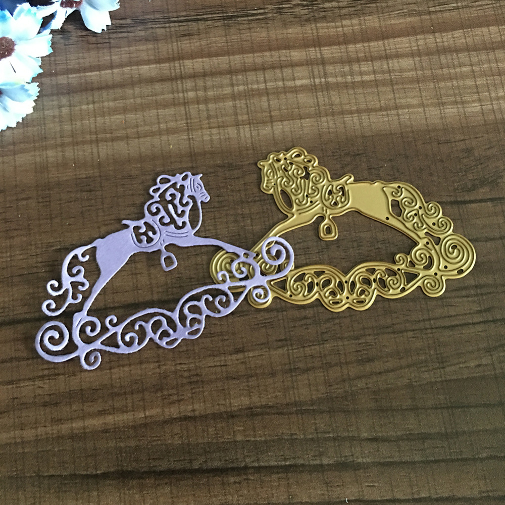New Metal Cutting Dies Stencils Horse on Clouds Balance Horse DIY Scrapbook Embossing Album Paper Card Draft Craft Decor
