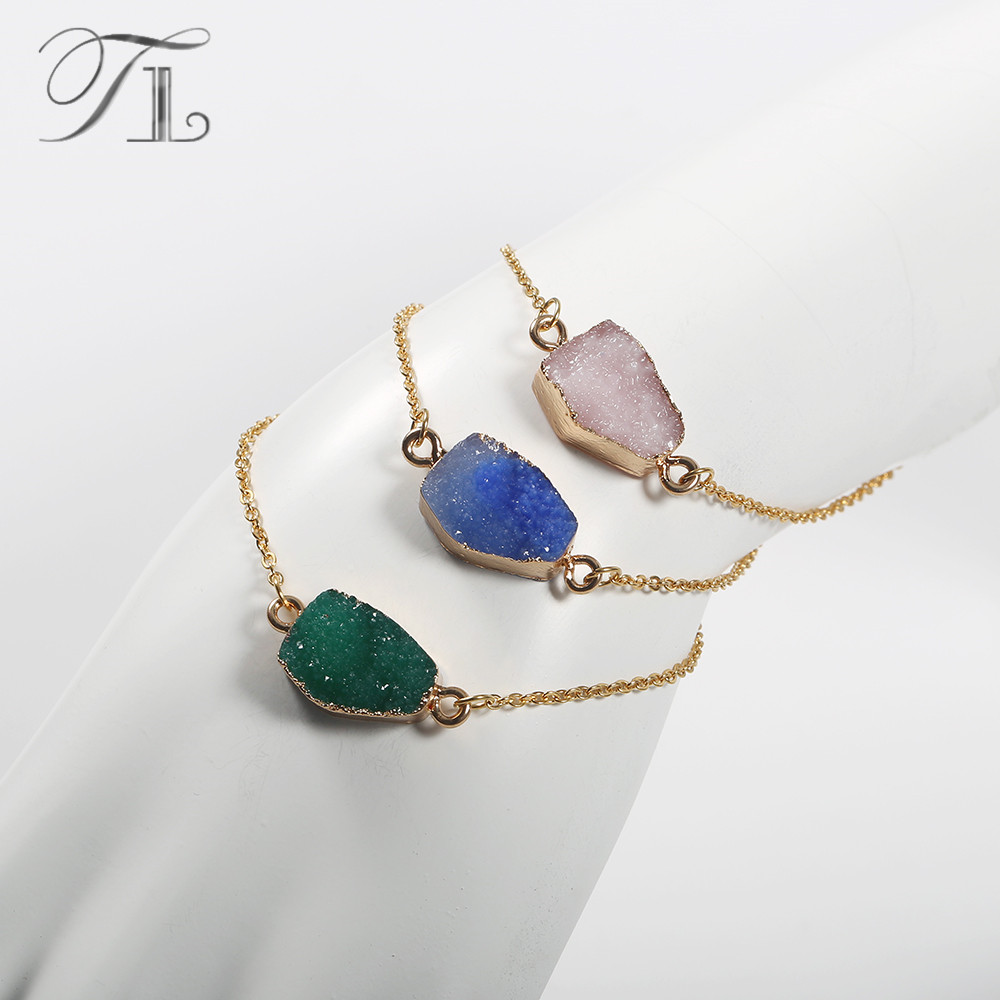 TL Irregular Geode Druzy Druse Bracelets Natural Stone Bracelets Gold Color Thin Chain Stainless Steel Bracelets For Women Girls