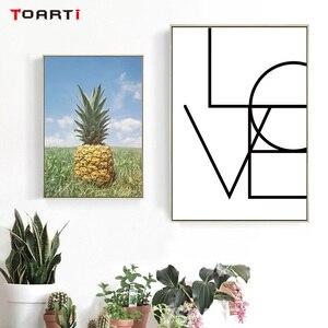 Image 2 - Ananas mur Art toile affiches imprime nordique amour lettres toile peinture sur le mur noir blanc Art photos pour la décoration intérieure