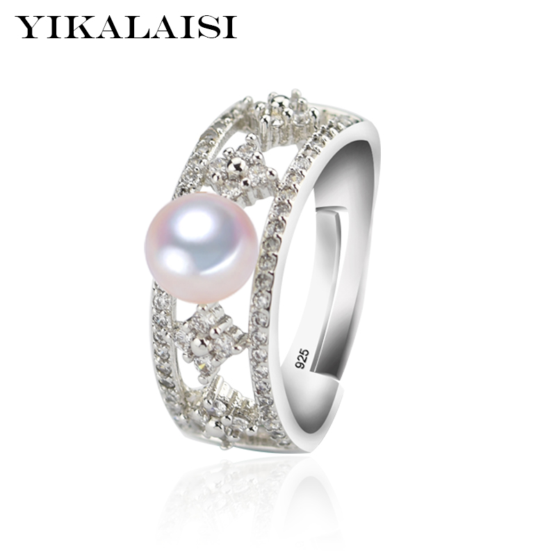 YIKALAISI 925 Sterling Silver Natural Freshwater Pearl Fashion Rings Jewelry For Women 6-7mm Pearl Rings 4 Colour