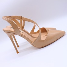 Free shipping fashion women Pumps BEIGE leather S strappy high heels shoes 10cm real slingback Stiletto Heels