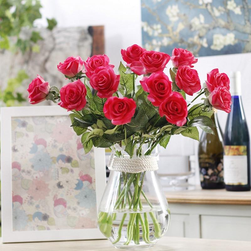 Hot Offer Floace 11pcs Lot Rose Artificial Flowers Silk