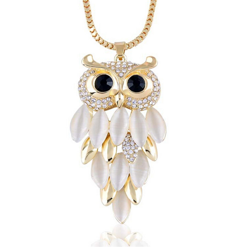HIgh quality Owl necklace pendants Opal Box Chains long chains necklace for women fashion jewelry Costume necklaces
