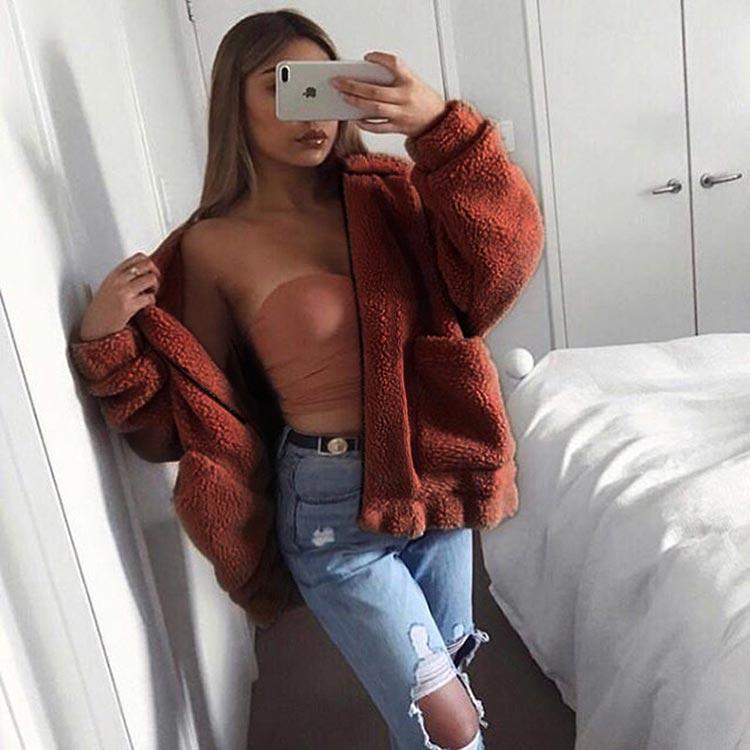 HTB13FNIahrvK1RjSszeq6yObFXa4 Autumn winter jacket female coat 2019 fashion korean style plus size women teddy fur coat female casual jacket woman pusheen