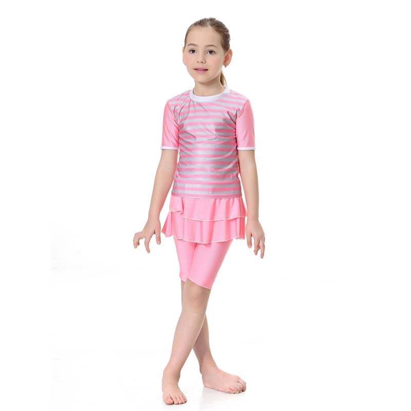 2019 Girls Swimsuit Two Piece Swimwear 8 12 Years Arab Islam Beach Wear Swim Suits Burkinis Surf Pants in Muslim Swimwear from Sports Entertainment