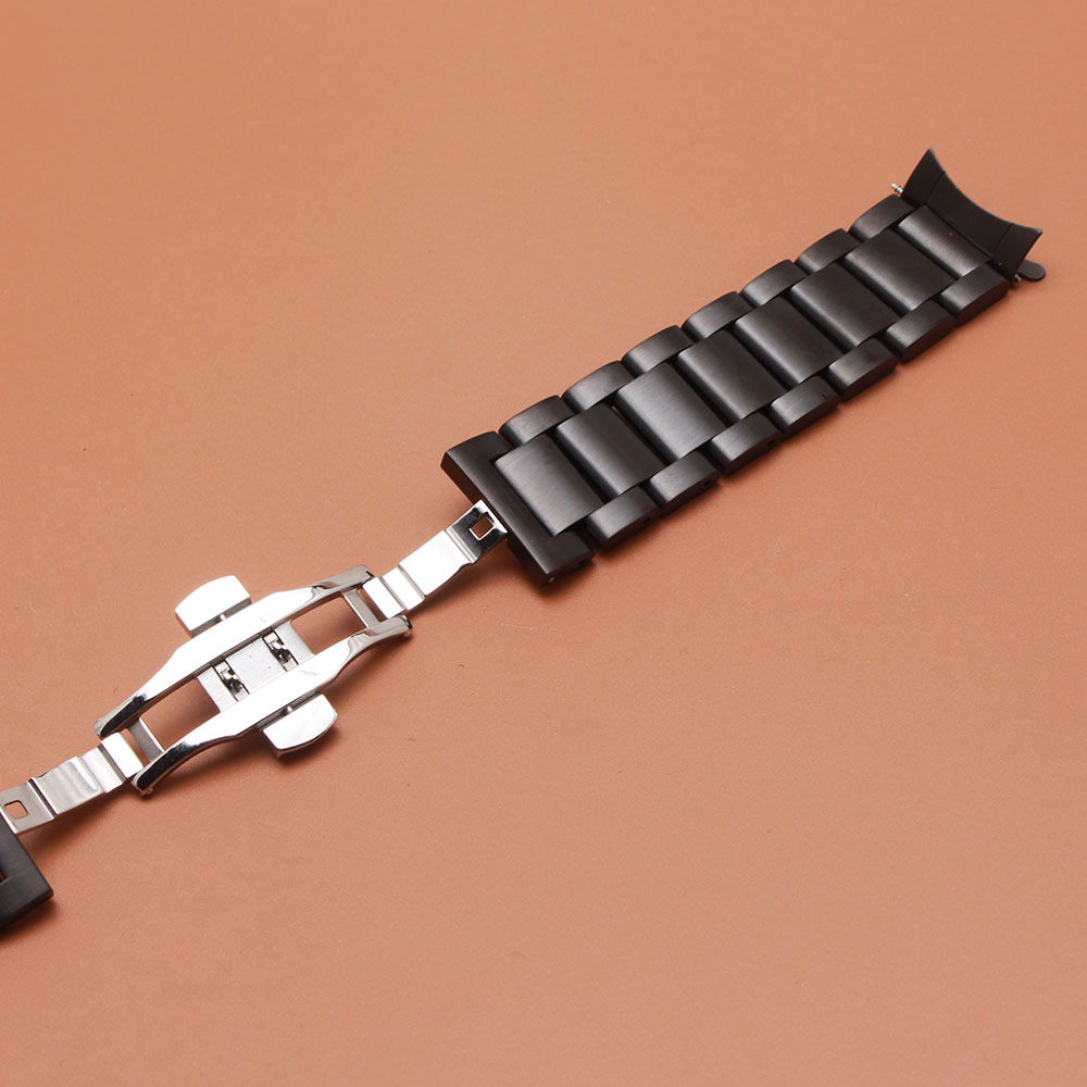 Curved end Watchbands Straps 22mm Black silver stainless steel bracelet for Gesr S3 Frontier Classic watches FREE Straight ends in Watchbands from Watches