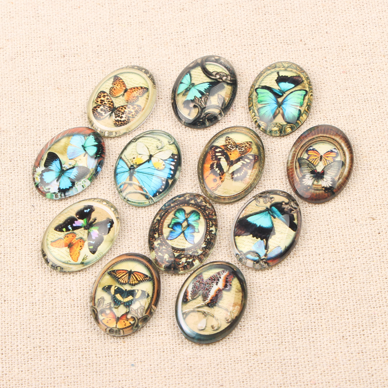 reidgaller 20pcs 18x25mm vintage butterfly photo oval glass cabochon diy jewelry findings for pendant necklace making vintage artificial oval turquoise butterfly carved ring