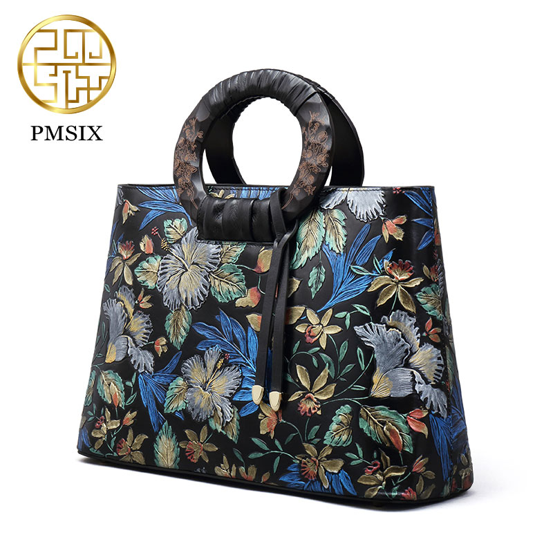 Genuine leather Cowskin Women Bag Pmsix Chinese Style Fashion casual shoulder bag embossed handbag retro bags  P110036 genuine leather handbag pmsix 2017 new national wind art fashion leather handbags retro embossed handbag shoulder bags
