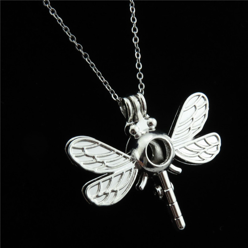 R-K13 Kids Dragonfly Locket Necklace Bead Cage Charm Pendant Essential Oil Diffuser Chain Necklaces Women Girl Jewelry