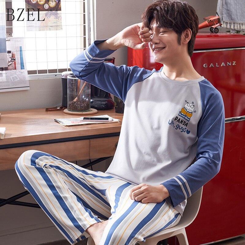 BZEL Winter Cartoon Men's Pajamas Suit Round Collar Striped Sleepwear Long Sleeve Sleep Lounge Cotton Pyjamas Pijamas Plus Size