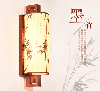 Chinese style brown wood frame wall lamps Antique yellow bamboo pattern parchment E27 LED lamp for porch&stairs&pavilion XDBD002