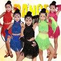 Las muchachas de las borlas de baile latino samba dress kids dancewear trajes de niños profesional salón de baile salsa latin fringe dress