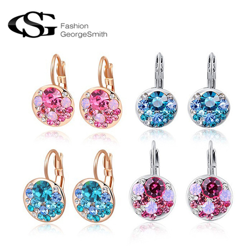 GS 2018 New High Quality 4 Colors Round Stone AAA Zircon Flower Stud Earrings for Women