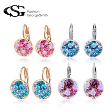ROXI Brand 8.19 Big Sales aaa zircon earrings for women crystal Pink Crystal accessories Platinum gold Plated jewelry