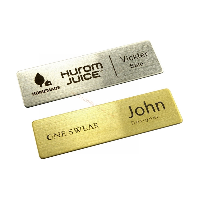 5pcs business name tag metal id badge personalized laser engraved