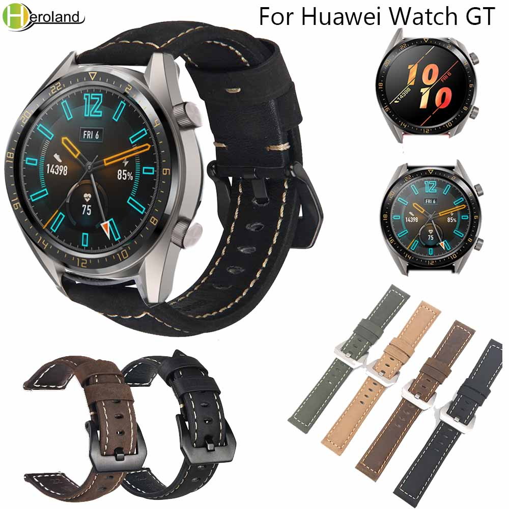 Hot Salling Replacement Retro Genuine Leather Watch Band Strap For Huawei Watch GT/GT2 Honor Magic Smart Watch Wristband Strap
