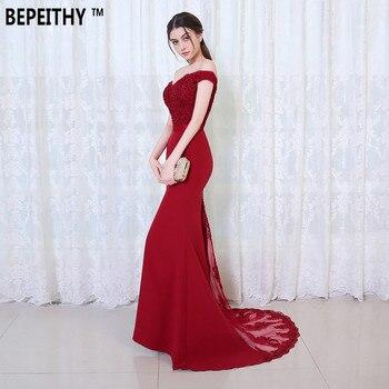 Robe De Soiree Mermaid Burgundry Long Evening Dress Party Elegant Vestido De  Festa Off The Shoulder 108fb19ba