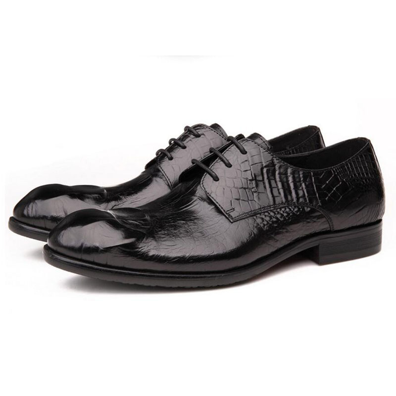 Men's Shoes British Style Crocodile Genuine Leather Evening Dress Shoes Mens Loafers Brand Luxury Business Oxford Flats Shoes