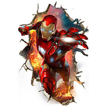 Iron Man broken 3d wall enter kids room vinyl stickers super hero the Avengers movie mural home decoration marvel poster 60*90cm(China)