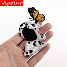 VIPOINT embroidery dogs buttlefly patch cartoon animal patches badges applique for clothing LX-8