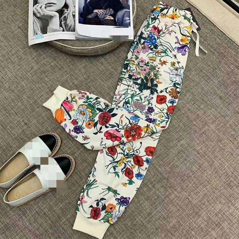 2019 décontracté Pantalons de Survêtement Femmes Imprimé Floral Pantalon Streetwear Survêtement Femme vintage Coton Poches