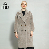 Women New Double Breasted High Quality Alpaca Coat Female Long Soft Albaka Cashmere Coats Casual Thick Warm Winter Wool Coat