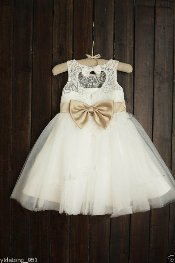 Lace Tulle Flower Girl Dress Keyhole Back Champagne Gold Sash Bow Dress Wedding gorgeous lace beading sequins sleeveless flower girl dress champagne lace up keyhole back kids tulle pageant ball gowns for prom