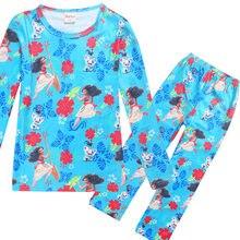 01b968245370f Filles ensembles moana Cartoon costumes filles pyjamas ensembles garçon  pantalon + manches T-shirt maui enfants pyjama vêtements.
