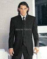 Verkoop in de eerste bruidegom smoking zwart mandarijn revers best man bruidsjonkers mannen wedding suits prom/form/bruidegom jas + broek + tie-in Pakken van Mannenkleding op