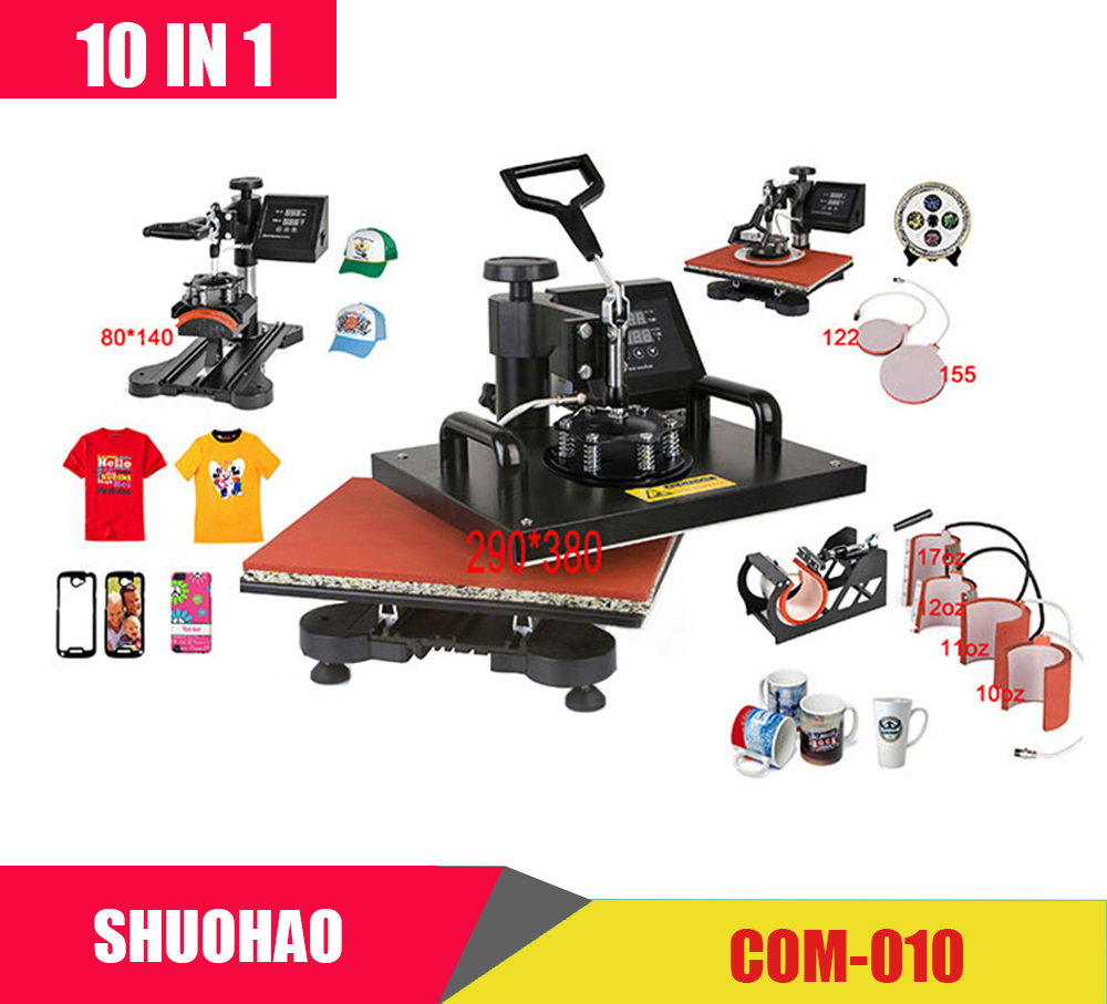 Advanced New Design 10 In 1 Combo Heat Press Machine,Sublimation/Heat Press,Heat Transfer Machine For Mug/Cap/Tshirt/Phone cases new design single display 7 in 1 heat press machine mug cap plate tshirt heat press sublimation machine heat transfer machine