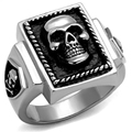 DC1989 Men Stainless Steel Ring High Polishing Skull Face or Fleur-De-Lis Anti Black Punk Fashion Jewelry Lead Free Boy's Gift