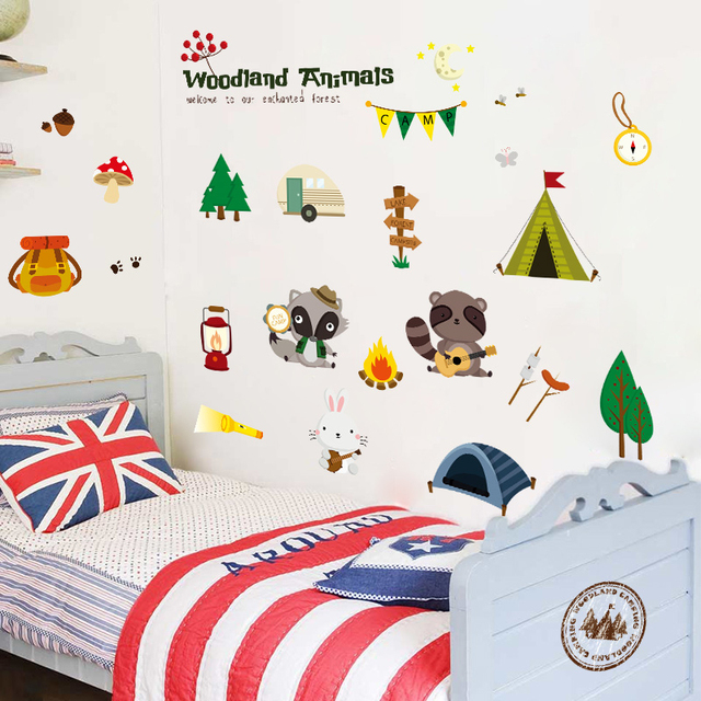 Woodland Animals Diy Cute Fox Rac Wall Stickers Home Decor Decal Mural Kids Children Boys S Bedroom Decoration