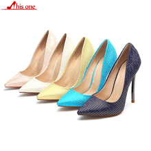 2019 Sexy Women Geometric patterns Skin Embossed High Heel Shoes Italian Style Fashion Ladies Extremely Stilettos Pumps