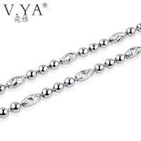 V. YA 100% Cadena de Lingotes de Plata de Ley 925 Collares para Las Mujeres hombres 5 MM Perlas Cadena de Plata Sólida Gruesa Pesada Cadenas fit colgante