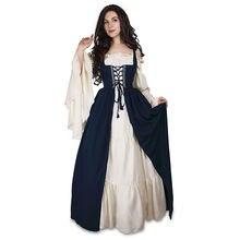 Женские длинные платья в стиле ренессанс Викторианского Средневековья