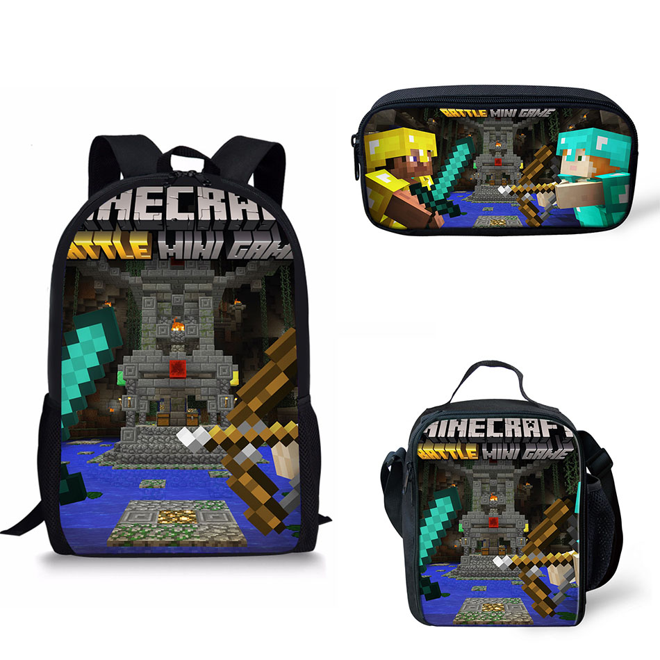 School Bag Backpack Minecraft Roblox Printing Boys Schoolbag Students Book  Bags Kid Teenager Schoolbags Insulated bag For Lunch-in School Bags from  Luggage ... 3d19f23ab5d3e