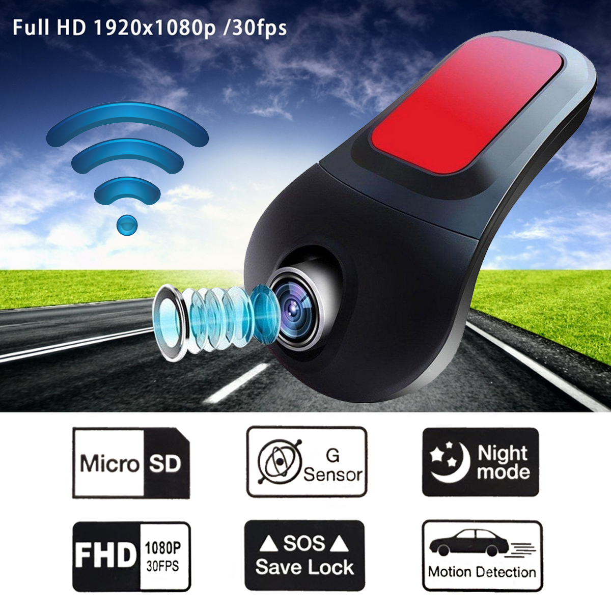 FHD 1080 WiFi Mini Car DVR Camera 170 Degree Dash Cam Camcorder Driving Video Recorder G-Sensor Dashcam Night Vision