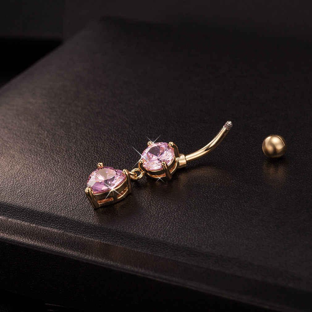 בציר יוקרה אופנה בציר זהב לב נשים פלדה כירורגית אלגנטי הולו לב תליון ליידי טבור טבעת
