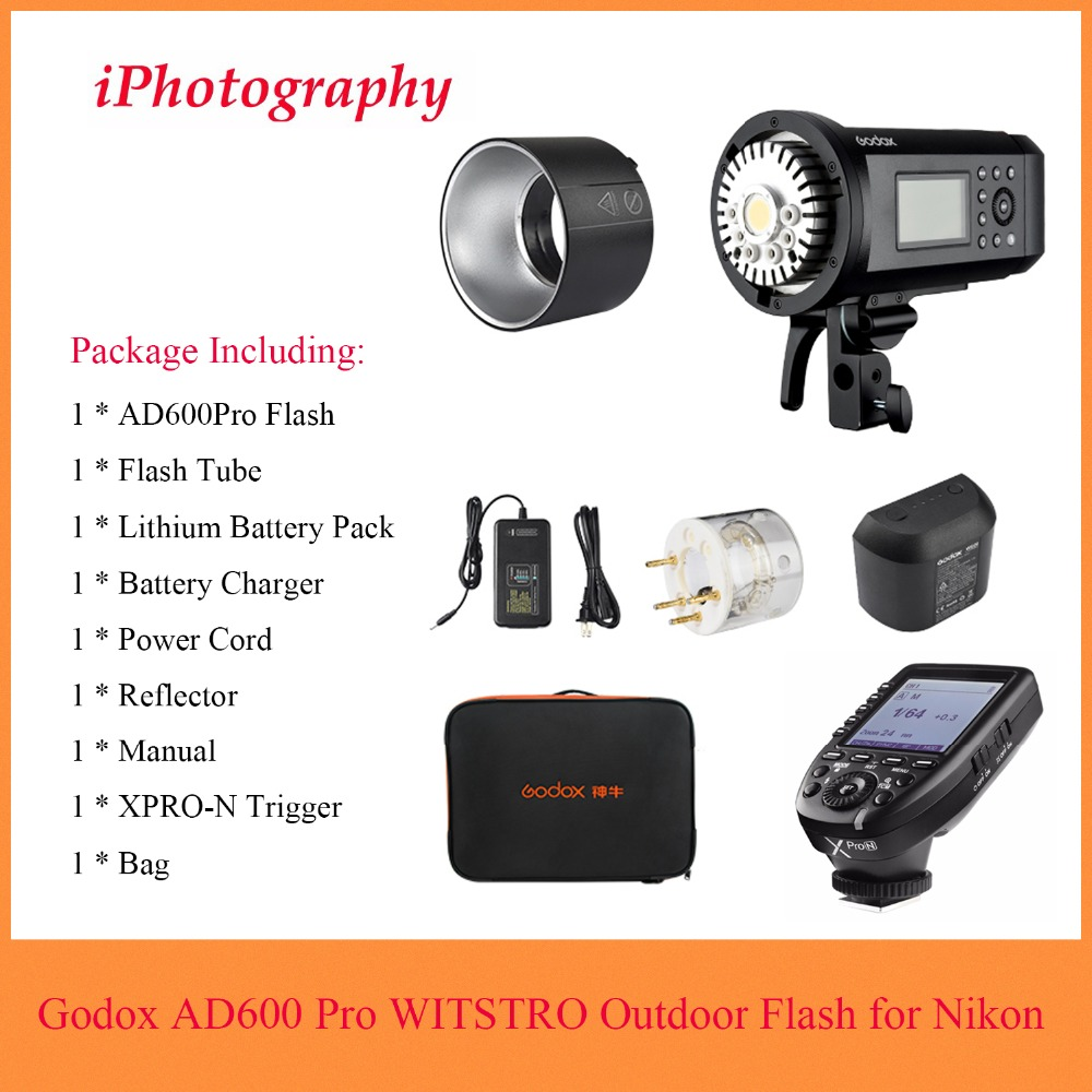 <font><b>Godox</b></font> <font><b>AD600</b></font> <font><b>Pro</b></font> WITSTRO All-in-One Outdoor Flash AD600Pro TTL HSS with Built-in 2.4G Wireless X System +Xpro-N Trigger for Nikon image