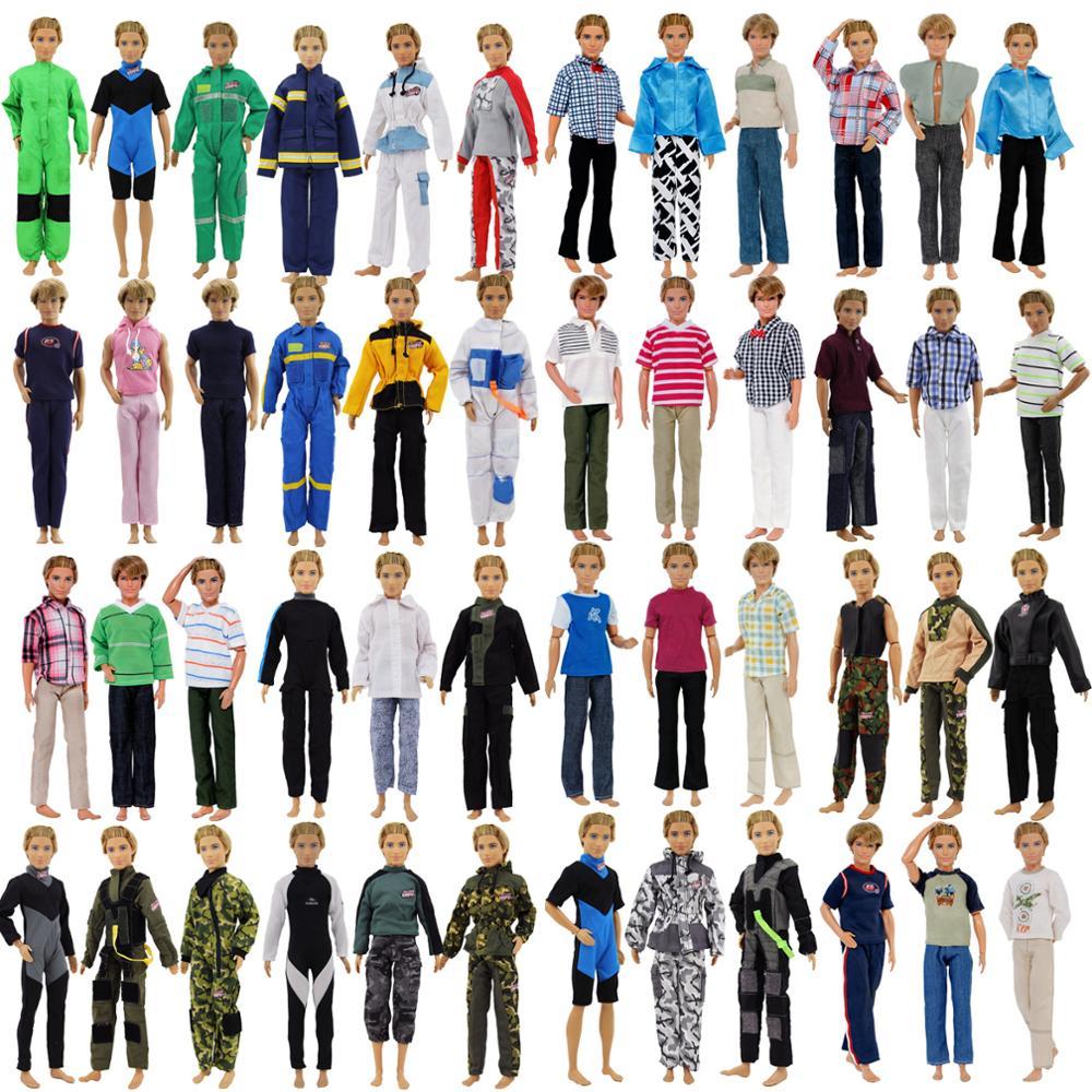 אקראי 10x תלבושות חולצת טריקו + מכנסיים מפוספסים יומי מעיל מכנסיים בגדים עבור ברבי קן בובה אביזרים מתנה סט צעצוע